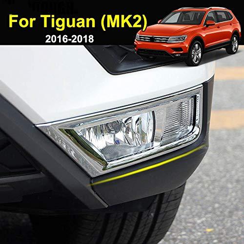 vitesurz Für VW Tiguan MK2 2. Generation 2016-2019, Chrom vorne Nebelscheinwerfer Lampenabdeckung Nebelscheinwerfer Zierrahmenleiste