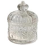 Caja de almacenamiento de joyería de vidrio, tarro de cristal para dulces, joyero transparente con corona con tapa, día de la madre, día de San Valentín, regalo de cumpleaños, decoración del hogar