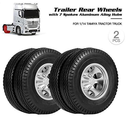 Donci 2pcs Trailer Vorderräder mit 7 Speichen Aluminiumlegierung Naben für 1/14 Tractor Truck RC Climber Trailer