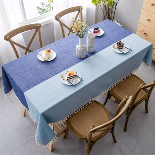 Mantel Rectangular de borlas de algodón y Lino con Costuras de Dos Colores, Utilizado para la decoración de la Fiesta de Picnic en el jardín de la Cocina, Azul 90 * 140 cm