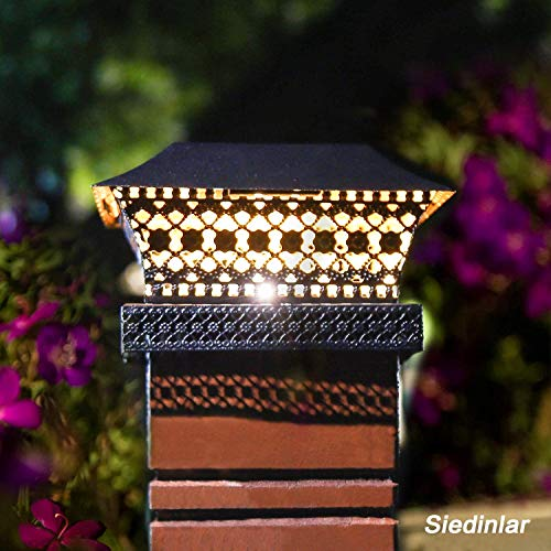 Siedinlar Solar Post Lights Outdoor Fence Deck Cap Light Solar Powered Metal Warm White LED Lighting Waterproof for Garden Patio Decoration 4x4 5x5 Wooden Posts Black (2 Pack)