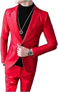 Pandapang Mens Casual Coat Faux Leather One Button Blazer Jackets
