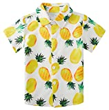 uideazone Boys Yellow Pineapple Printed Shirts Kids Short Sleeve Dress Shirt Hawaiian Aloha Tops Summer Daily Casual Wear (Size 5-6T)