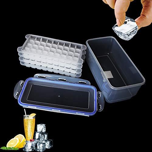 Eiswürfelformen mit Deckel, 144-Fach Eiswürfelformen, Dicht und Auslaufsicher Ice Cube Tray Plastic, Eiswürfelbox für Gefrierfach