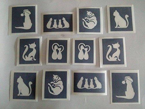 25x Cat plantillas para grabado en cristal mixtos regalo presente cristal hobby craft gatos gatito