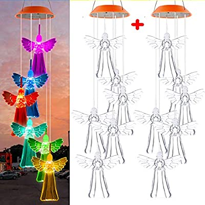 SUMBLIME Solar Wind Chimes Changing Colors - 2Pack Decorative Waterproof Angel Hanging Lights for Outdoor Decor Home Patio Yard Tree, Gift for Mom, Grandma, Daughter, Granddaughter