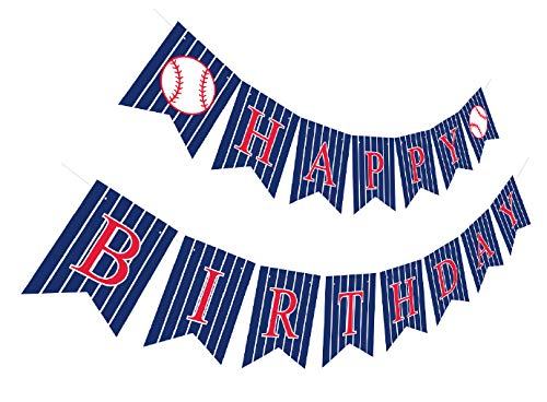 Baseball Happy Birthday Banner   Pre-Strung Bday Sign Party Decoration