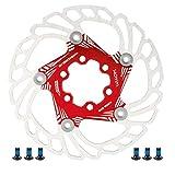 Disco Freno per Bicicletta da Mountain Bike Rotori di Raffreddamento Flottanti 5 Perni 140 Mm Accessorio per Ciclismo ( Rosso )