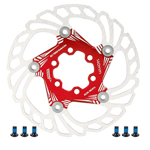VGEBY Disco de Freno Flotante de Bicicleta, 140 mm de Acero Inoxidable Duradero Rotor de Freno de Disco Flotante de Bicicleta Seis Tornillos Pastilla de Freno de Bicicleta de montaña(Rojo)