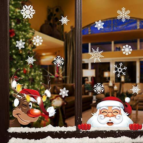 heekpek 8 Blatt Christmas Fensteraufkleber Weihnachten Fensterbilder Winter Statisch Haftende PVC Aufklebe Weihnachtsmann Süße Elche Wiederverwendbar Schneeflocken Aufkleber