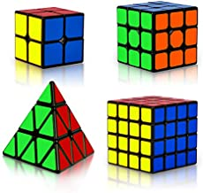 Coolzon Rubix Cube Set, Magic Speed Cube Bundle 2x2 3x3 4x4 Pyraminx Pyramid, Easy Turning 3D Puzzle Cube Games Toy Gift for Kids Adults, Pack of 4