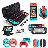 Deruitu Zubehör Set für Nintendo Switch (18 in 1) - Switch Accessories Bundle mit Tasche,...