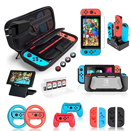 Deruitu Zubehör Set für Nintendo Switch (18 in 1) - Switch Accessories Bundle mit Tasche, Schutzfolie, Silikon Hülle, Ständer, Joy-Con Dock, Lenkrad und Joy-Con Controller