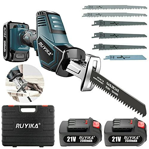 RUYIKA Electric Cordless Reciprocating Saw Wood Metal Cutting w/ 6 Blades 2 Battery 21V