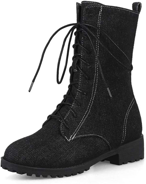 T-JULY Women's Denim Autumn Winter Plus Size Ankle Boots Fashion Lace Up Round Toe Square Heels shoes