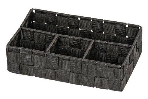 WENKO Organiseur de salle de bains Adria petit, noir - 4 compartiments, Polypropylène, 26 x 6.5 x 17 cm, Noir