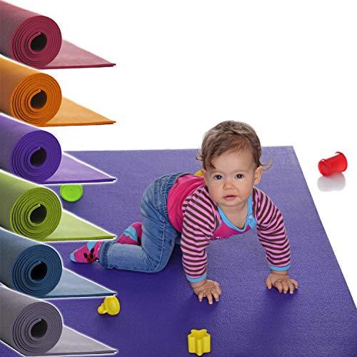 Sanosoft® Made in Germany Anti-Rutsch Krabbelmatte Oeko-Tex Krabbelunterlage *** große Auswahl an Farben und Größen - 120cm X 100cm Grau
