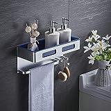 RJJ Estante de baño con toallero y gancho, organizador de ducha rectangular montado en la pared, de aluminio espacial + recipiente ABS