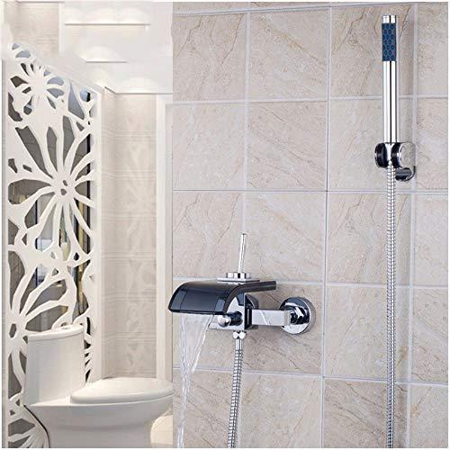 ZHXIFE Grifo de la bañera Grifos de baño con caño de Vidrio Negro Cromado Cascada Baño Baño y Amplificador; Ducha Grifo con Grifo De Mano Baño Bañera Ducha