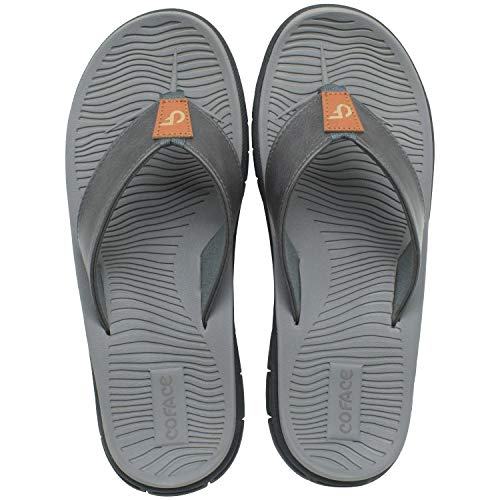 Men's Flip Flops Comfortable Casual Thong Sandals With Arch Support Outdoor Grey Size 14