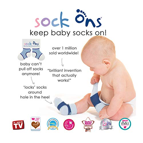 Sock Ons Clever Little Things That Keep Baby Socks On! 3 Pack - Orange, Grape, Fushcia, 0-6 Months