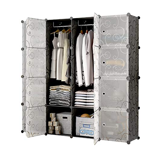 Asukale Armario de plástico portátil, sistema de estanterías, armario plegable, para manualidades, con puertas