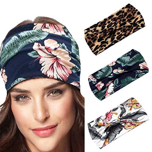 Fashband Wide Boho Stirnbänder 3 PCs Blumendruck Kopfbedeckung Leopardenmuster Haarband Mode Stirnbänder Haarschmuck Laufen Yoga Fitness Hippie Kopfwickel Böhmischer Turban für Frauen und Mädchen