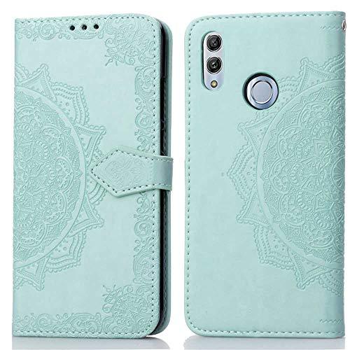Bear Village Hülle für Huawei P Smart 2019 / Huawei Honor 10 Lite, PU Lederhülle Handyhülle für Huawei P Smart 2019, Brieftasche Kratzfestes Magnet Handytasche mit Kartenfach, Grün