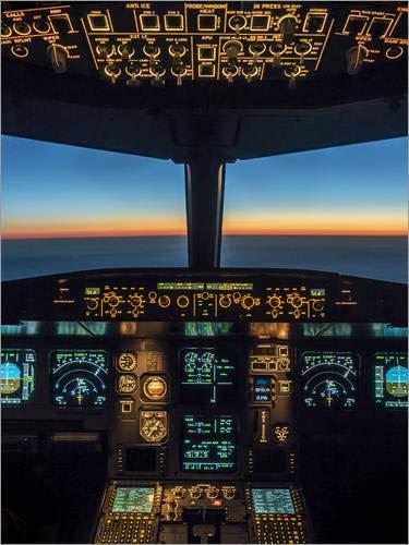Poster 30 x 40 cm: A320-Cockpit in der Dämmerung von Ulrich Beinert - hochwertiger Kunstdruck, neues Kunstposter