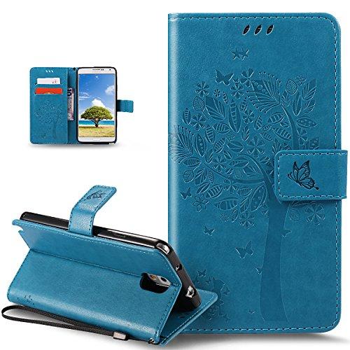 Coque Galaxy Note 3,Etui Galaxy Note 3,Gaufrage Embosser Chat papillon Fleur Floral arbre Housse en Cuir PU Etui Housse en Cuir Portefeuille de Protection Flip Case Etui Coque pour Galaxy Note 3,Bleu