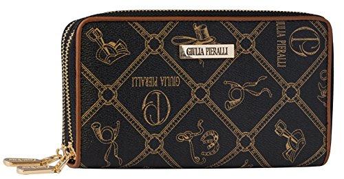 Halal-Wear Giulia Pieralli Damen Geldbörse mit Doppel Reißsverschluss Modell 02A Glamour portmonee Portemonnaie Frauen Geldbeutel Geldbörsen (Marrone)