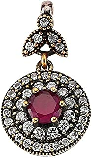 Round Pendant garnished with Ruby and Zircon