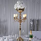 Efavormart 33' Tall Gold Arm Shiny Metal Candelabra Chandelier Votive Candle Holder Wedding Centerpiece