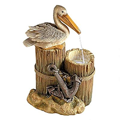 Coastal Decor Water Fountain with LED Light - Pelican's Seashore Roost Garden Decor Fountain - Outdoor Water Feature