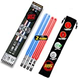 LIGHTSABER CHOPSTICKS LIGHT UP STAR WARS LED Glowing Light Saber Chop Sticks REUSABLE Sushi Lightup Sabers-Removable Handle Dishwasher Safe-Premium GIFT BOX & CARRY CASE Included -Blue & Red - 2 Pairs