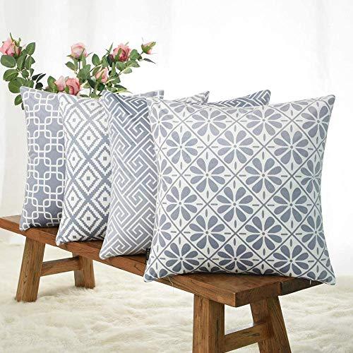 Mazu Homee Funda de cojín cuadrada de lino de algodón durable para sofá hogar de 45,7 x 45,7 cm