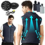 Cool Vest Wearable Cooling Fan Vest Air-conditioned Clothes Evaporative Cooling Construstion Vest for Working,Fishing,Hiking,OutDoor Activities(Navy-V, x_l)