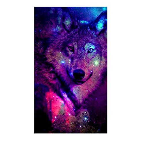 FORESTIME 5D Diamond Painting, Colorful Wolf Diamond Embroidery Painting DIY Cross Stitch Kit 5D Diamond Crystal Rhinestone Embroidery Painting DIY Art Craft Wall Decor