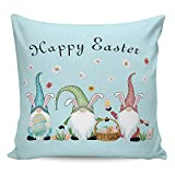 Litter Star Pillowcase Throw Pillow Covers Easter Gnomes with Colorful Eggs and Daisy Decorative Square Cushion Cover Pillow Cases for Sofa Couch Bedroom Living Room Blue 18x18in