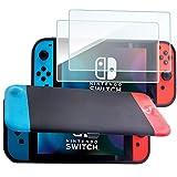 ProCase Funda para Nintendo Switch con 2 Protectores de Pantalla de Vidrio Templado, Carcasa Protectora Magnéticamente Desmontable Front Cover para Nintendo Switch 2017 –Rojo y Azul