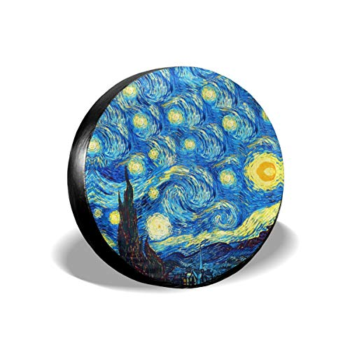 UTWJLTL Tire Cover The Starry Night Van Gogh Polyester Universal Spare Wheel Tire Cover Wheel Covers for Jeep Trailer RV SUV Truck Camper Travel Trailer Accessories 15 Inch