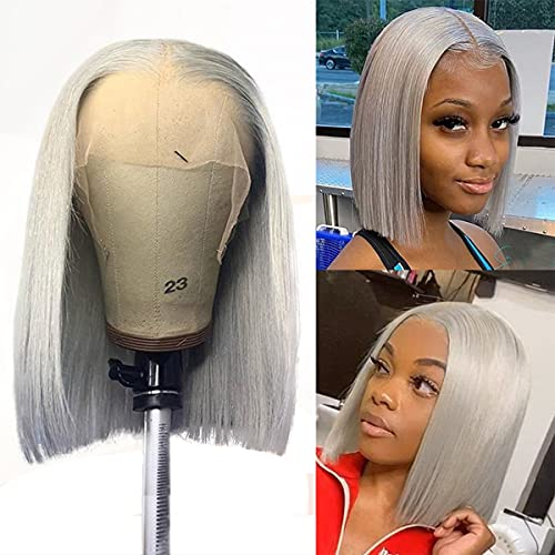 Bob Wig Human Hair Pre Plucked Bleached knots T Part Lace Front Wig 150% Density Brazilian Virgin Human Hair Lace Frontal Wigs Grey Colored 8Inch