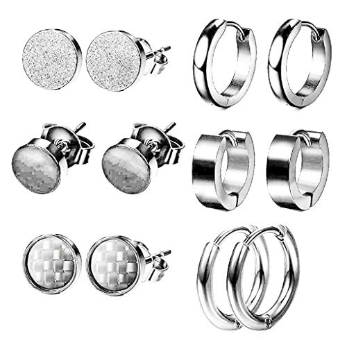 6 Pairs Stud Earrings Stainless Steel Cartilage Earring Hoop Earring for Women Mens Hip Hop Rock Gothic Ear Studs