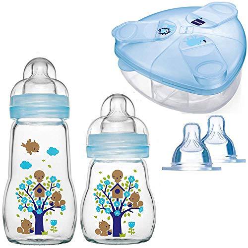 MAM Glasflasche Glas Flasche Feel Good Glass Bottle Neutral 260 ml Glas Flasche inkl. Sauger Größe 1 & 2 ab 0 Mo+