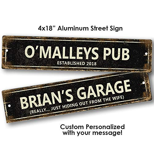 Personalized Black Distressed Look Aluminum Street Sign Metal Tin Custom Sign Traditional Vintage Antique Game Room Man Cave Bar Pub Tavern Wall