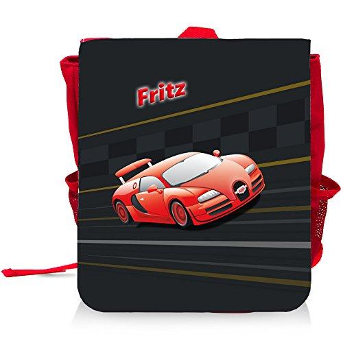Kinder-Rucksack mit Namen Fritz und schönem Racing-Motiv für Jungen