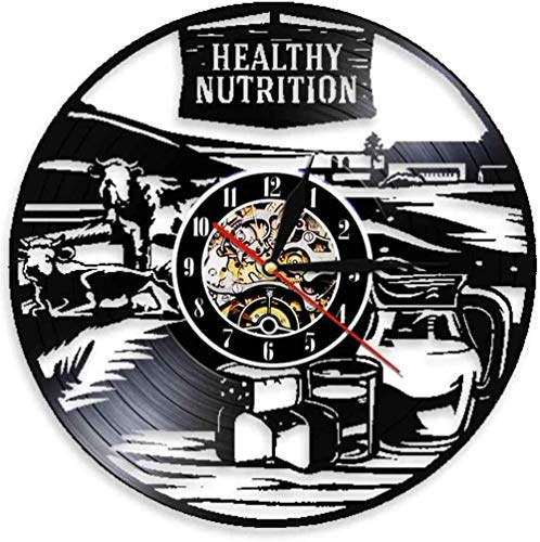 hxjie Nutrición Saludable Saludable Reloj de Pared de la Granja lechera Reloj de Pared de Vinilo de Vaca de la Granja Reloj de Pared con Logotipo de Leche Fresca Reloj de Pared