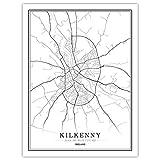 h-p Schwarz-Weiß-Karte Poster Von Dublin, Der Hauptstadt
