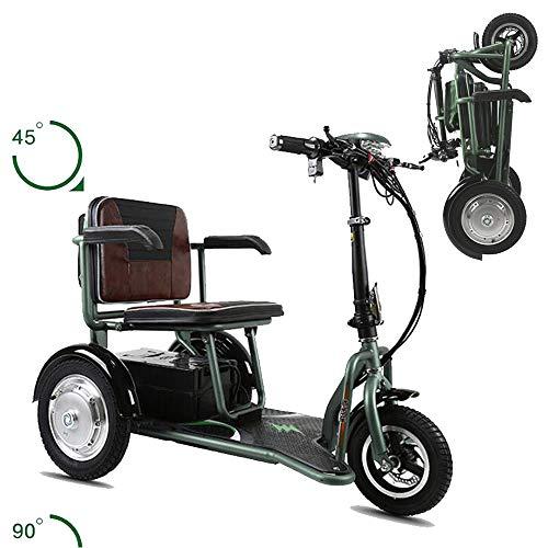 AA100 Folding 3-Rad-Roller Elektro-Rollstuhl Scooter 48V20A Lithium-Batterie Lebensdauer 55km / Doppelantrieb 700w / geeignet für ältere Menschen im Freien Rollstuhl,Grün