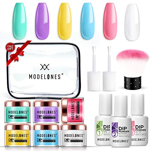 Dipping Powder Nail Starter Kit 6 Candy Rainbow Colors, Dip Powder System Starter Nail Kit Acrylic Dipping System for French Nail Manicure Nail Art Set Essential Kit, Portable Kit for Travel